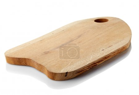 Photo for Brown wooden cutting board isolated on white background. Clipping path - Royalty Free Image