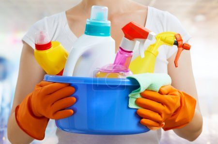 Photo for Woman with a pack of detergents - Royalty Free Image