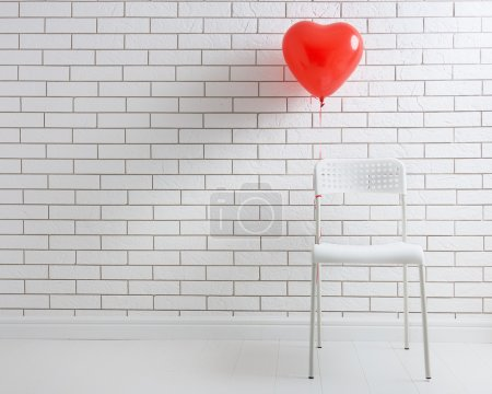 Photo pour Ballon rouge en forme de coeur sur le fond d'un blanc blanc blanc murs de briques. le concept d'amour et la Saint-Valentin . - image libre de droit