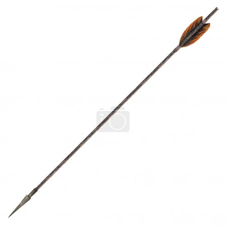 Photo for Antique old wooden arrow isolated on a white background. The army of Genghis Khan - Royalty Free Image