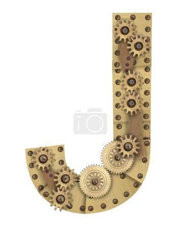 Steampunk alphabet letter J