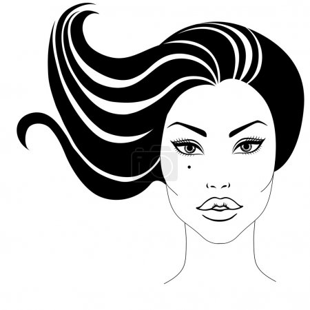 Illustration for Vector portrait of beautiful woman with long hair - Royalty Free Image