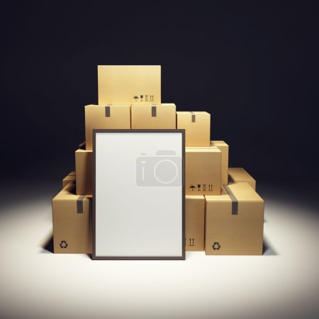Photo for Pile of cardboard box and empty billboard - Royalty Free Image