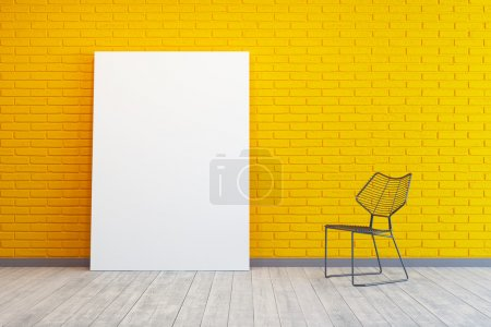 Photo for Yellow room with blank picture and chair - Royalty Free Image