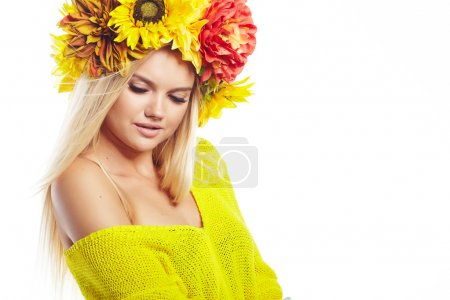 lady with wreath from flowers