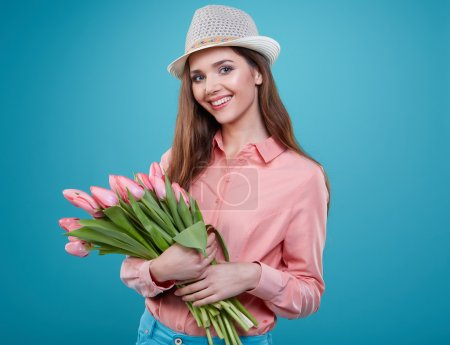 woman with tulips flowers