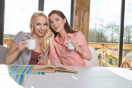 Photo pour Collégiens filles étudiant à la maison avec livre - image libre de droit