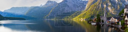 Scenic panoramic view of Hallstatt mountain