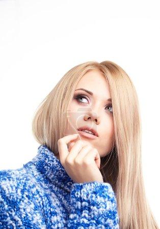 Expressive portrait of blonde girl