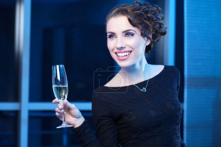 Festive woman with champagne
