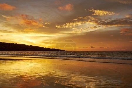 Amazing beach with beautiful breaking waves