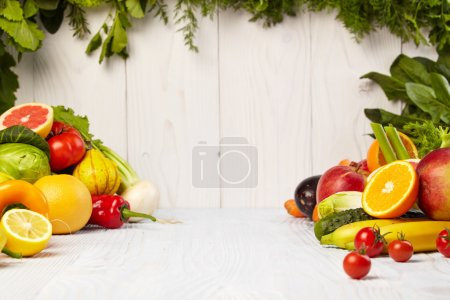 Frame with fresh organic vegetables and fruits