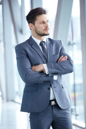 Businessman in suit standing at office