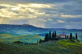 Tuscany, rural sunset landscape.