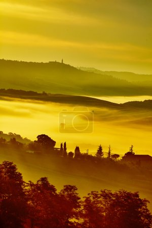 Tuscany landscape with rolling hills and valleys