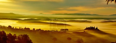 Tuscany panorama with rolling hills and valleys