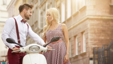 Love couple with retro scooter