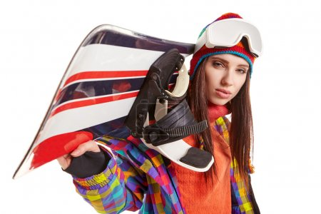 woman in snowboarder suit