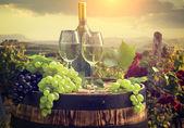 Pétillants avec Canon sur le vignoble en Toscane, Italie