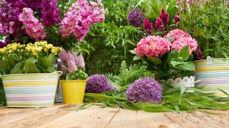 Terrace with flowers in garden