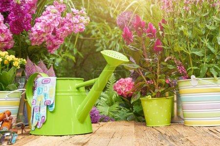 Gardening tools in garden