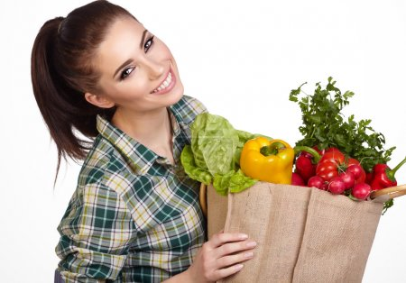 Woman with fresh food