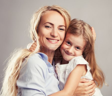 Photo for Mother with little girl. Parent with child. Happy family clouse up - Royalty Free Image