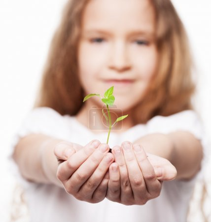 Photo for Child holding a sleedling. Girl with sprout - Royalty Free Image