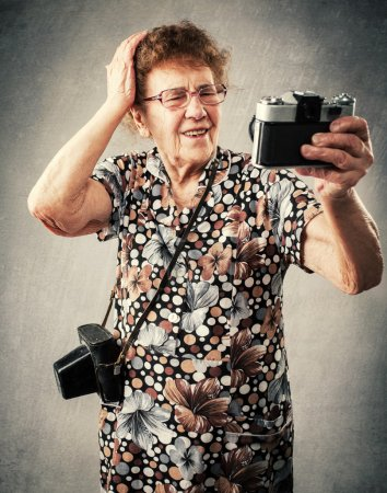 Granny photographer make selfie