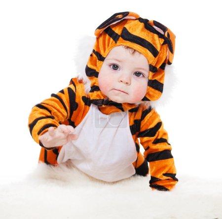 Photo pour Bébé déguisé en tigre. mascarade - image libre de droit