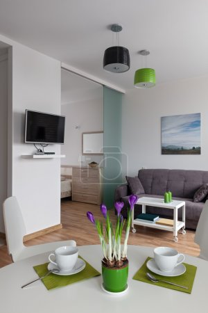Interior of modern apartment in scandinavian style. NOTE: All photos/pictures on the walls are made and printed by me.
