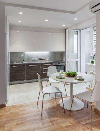 Kitchen interior in modern apartment in scandinavian style
