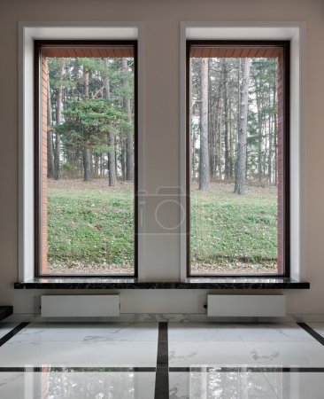 Interior of modern empty space with big windows