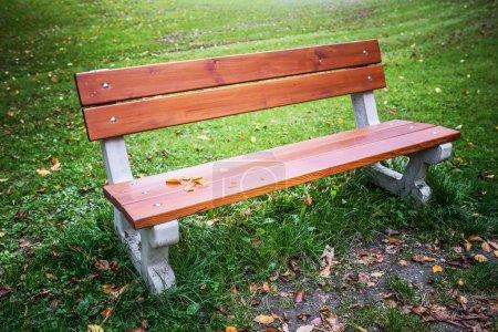 Photo pour Banc en bois en automne dans le vieux parc européen . - image libre de droit