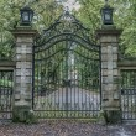 Vintage iron gates at castle hrad Bouzov, Moravia,...