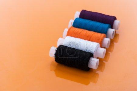 multi-colored skeins of yarn