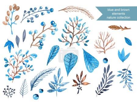Photo pour Cadre Aquarelle avec feuilles et baies dans les couleurs bleus et marron pour le beau design - image libre de droit