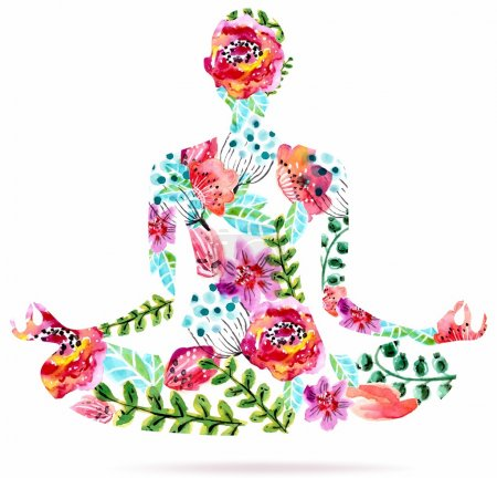 Illustration for Yoga pose, watercolor bright floral illustration over white background, lotus pose - Royalty Free Image