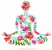 Yoga pose watercolor bright floral illustration over white background lotus pose