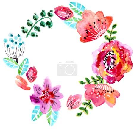 Watercolor floral frame for wedding invitation, sa...