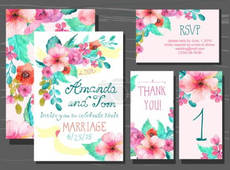 Illustration for Beautiful set of invitation cards with watercolor flowers elements and calligraphic letters. Wedding collection - Royalty Free Image