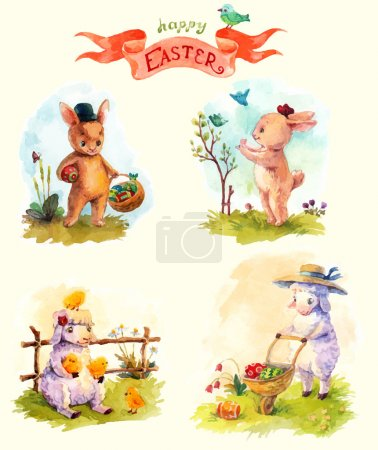 Watercolor vintage style Easter collection, cute animals