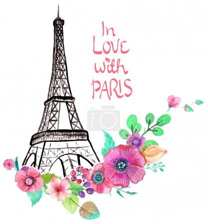 Eiffel tower with watercolor flowers