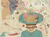 """Постер, картина, фотообои """"Итальянская еда, Иллюстрация"""""""
