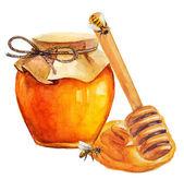 Watercolor Honey jar and honey stick