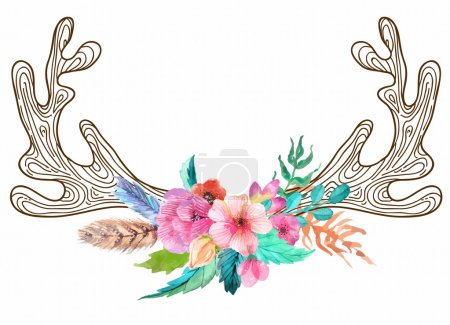 Illustration for Doodle horns with watercolor flowers and feathers, seamless pattern - Royalty Free Image