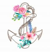 Doodle Anchor with watercolor flowers and feather