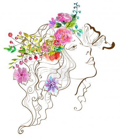 Illustration for Beautiful woman with butterfly and flowers,doodle illustration with watercolor flowers over white - Royalty Free Image