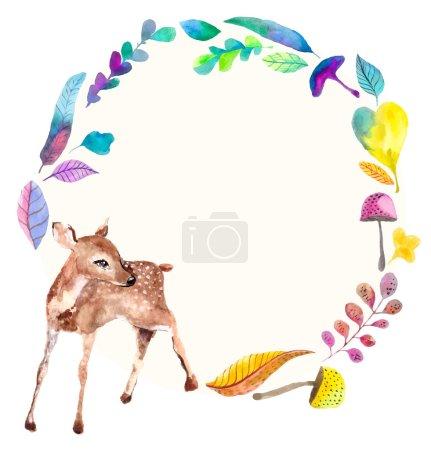 Bébé cerf aquarelle avec éléments floraux