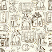 Seamless pattern with cute doodle cartoon windows